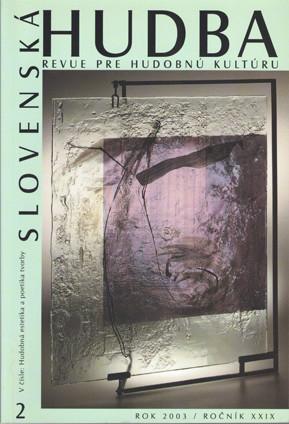 2/2003: Hudobná estetika a poetika tvorby